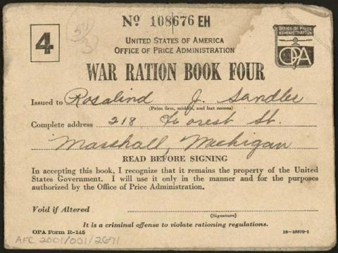 Personal War Ration Book Government American History World War II