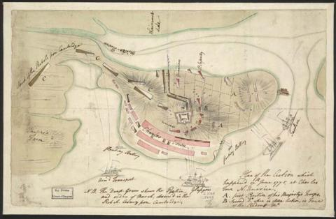 British-drawn Sketch of the Bunker Hill Battle