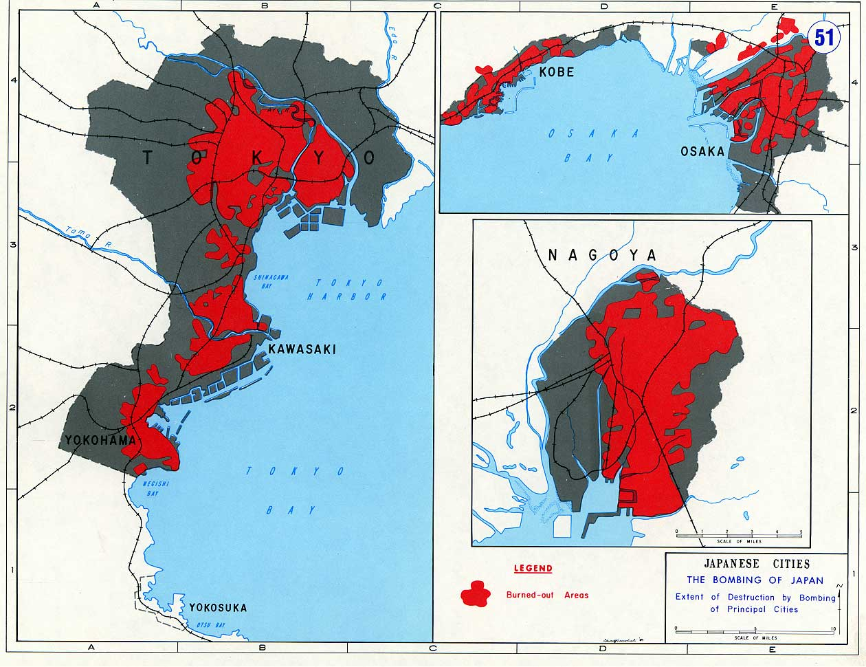 Bombed Cities And Burnedout Areas Japan - Japan map legend
