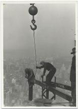 Empire State Building - Workers Attach Beam with a Crane