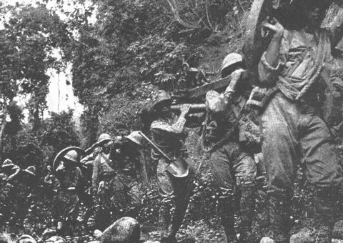 Japanese and Australian Soldiers at the Kokoda Trail (Illustration) American History Famous Historical Events Social Studies World War II Visual Arts