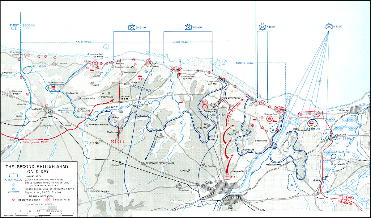 DDay Second British Army Map - Us army ww2 maps