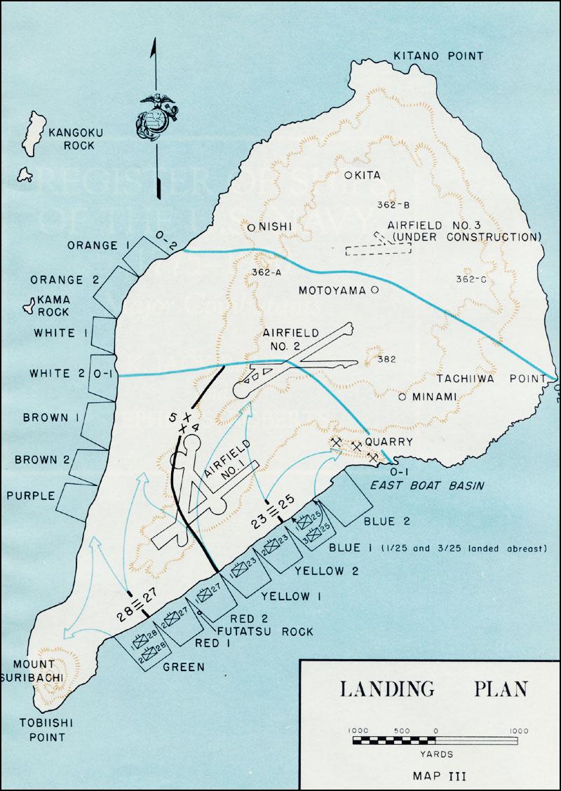 of landing plan in iwo - map of landing plan in iwo