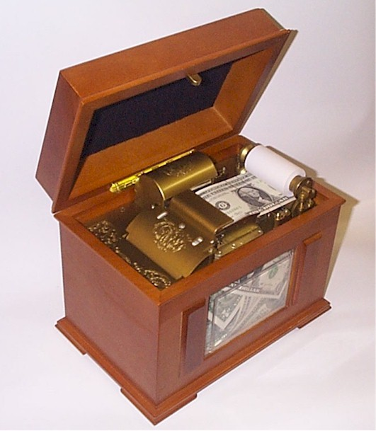 Interior view of a victor lustig money box for Awesome money box