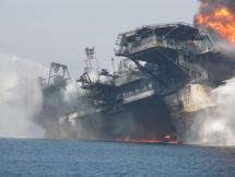 Deepwater Horizon on Fire and Disabled