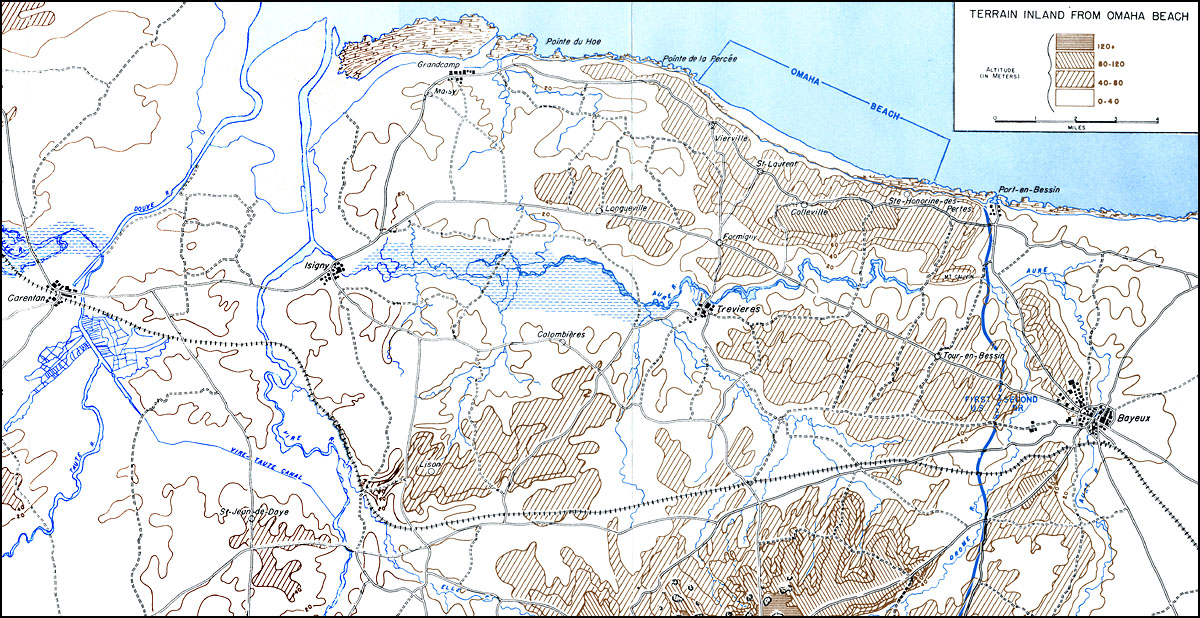 Terrain Inland From Omaha Beach  Map