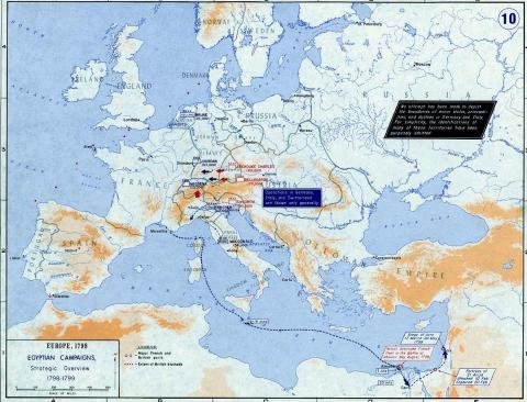 Map of Europe 1798: Egyptian Campaign