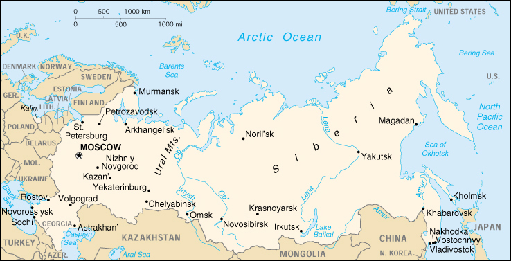 map showing ural mountains and siberia