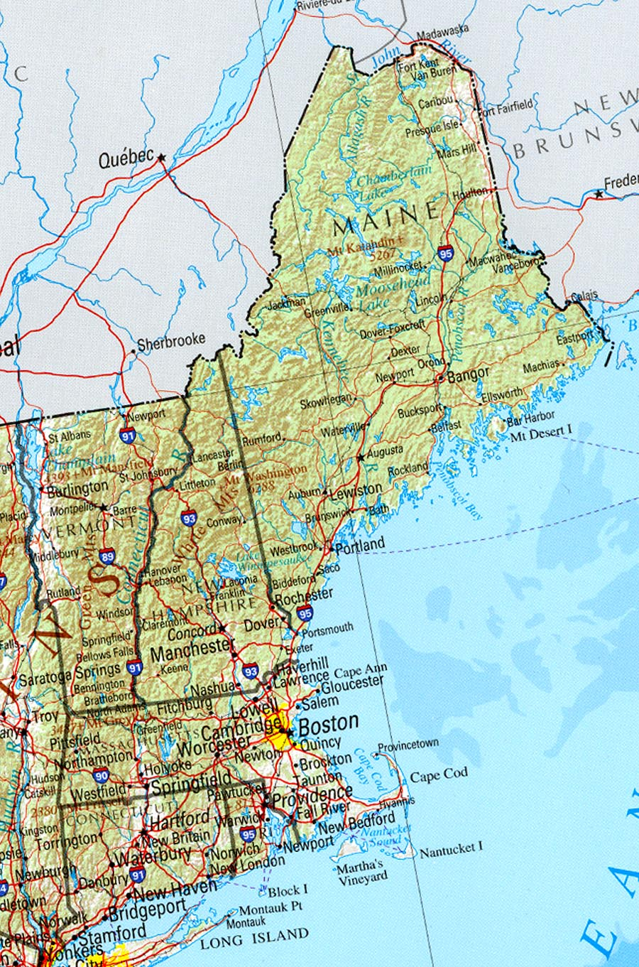 New England Map Of East Coast - Map of eastern maine