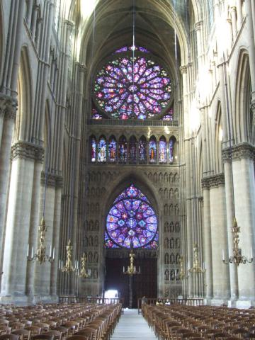 Reims Cathedral - Rose Windows, Nave, Looking West Medieval Times Philosophy Visual Arts