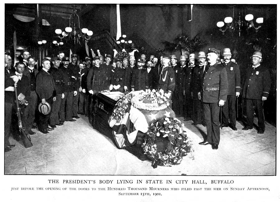 Assassinated leader was lying in state at city hall the coffin was