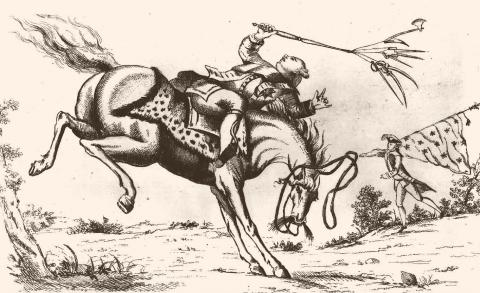 The Horse America, Throwing His Master - 1779 Cartoon (Illustration) Visual Arts Famous Historical Events Law and Politics Social Studies Civil Rights American History American Revolution