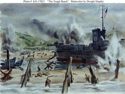 The Tough Beach - Watercolor by Dwight Shepler Famous Historical Events Visual Arts World War II Disasters