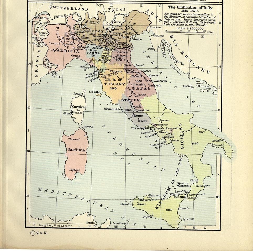 Rieti Italy Map.Map The Unification Of Italy
