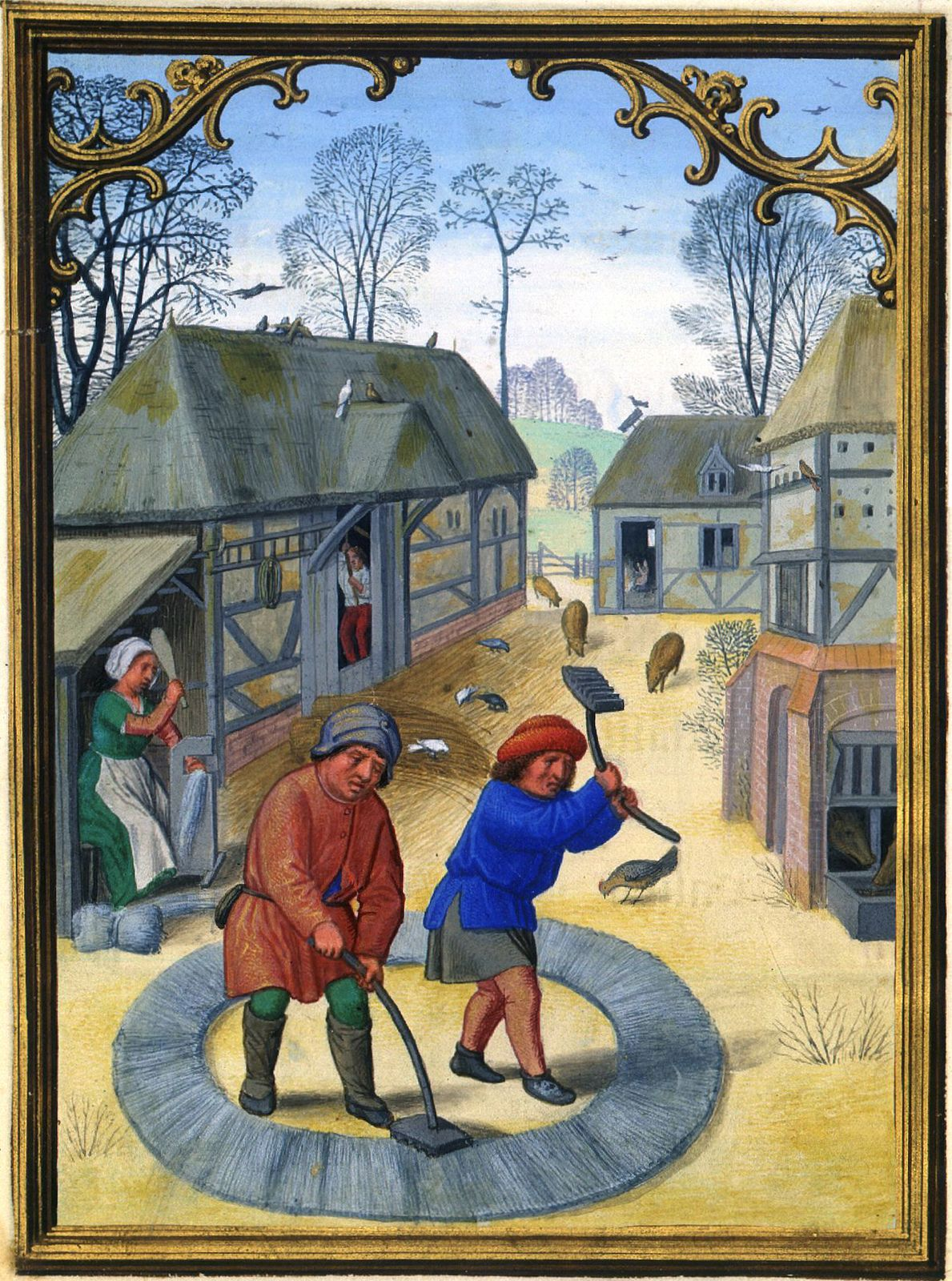 Awesome Home Library: Peasants Preparing Flax For Linen