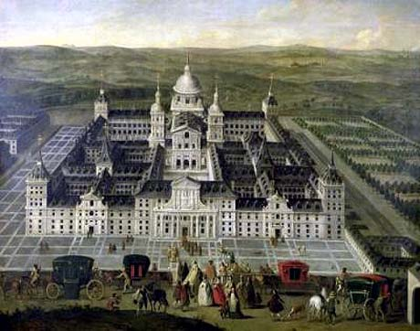 Image of a panoramic view of el escorial palace it was the historical