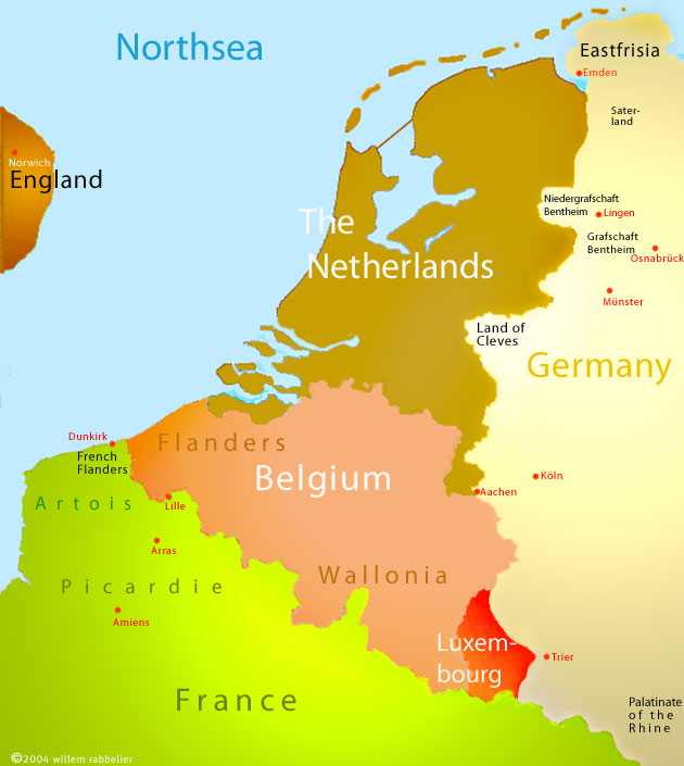 Map The Netherlands and Belgium