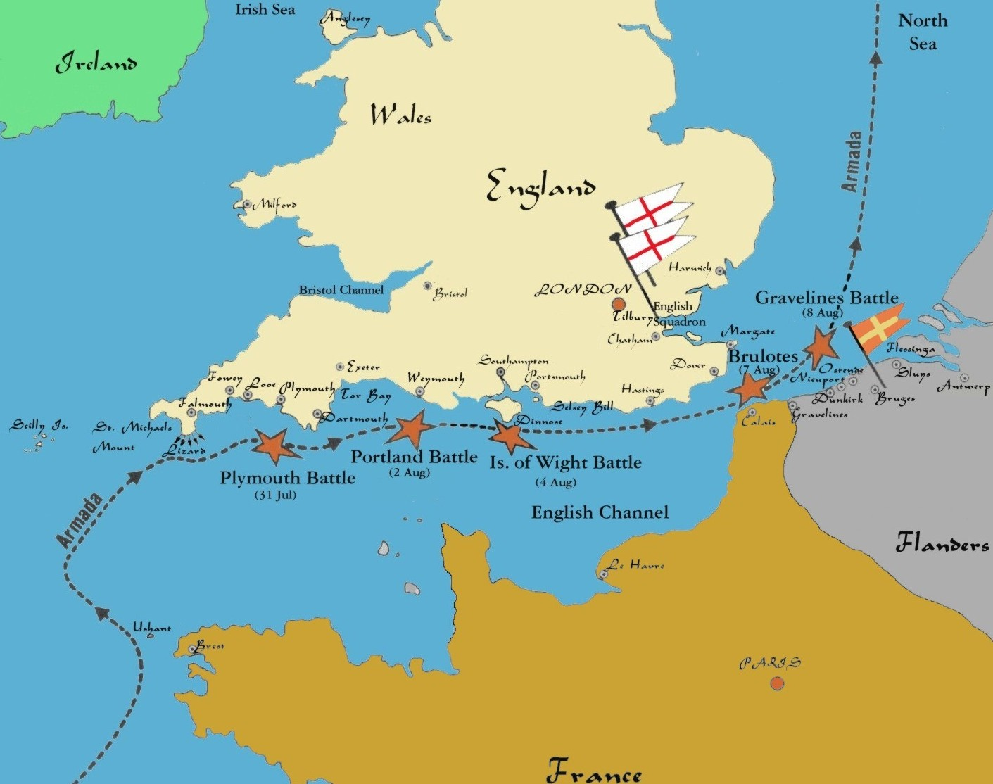 Spanish Armada Map Of Battle Locations - World map in spanish