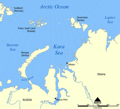 Map of Kara Sea
