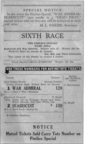 Match Race Ticket for the 1938 Pimlico Special