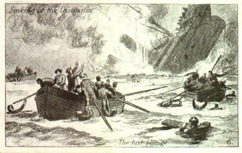 Lusitania Drawing - The Last Plunge Famous Historical Events Tragedies and Triumphs World History World War I Disasters
