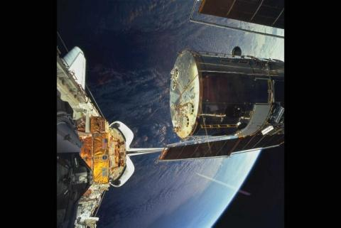 Deploying Hubble from the Shuttle Aviation & Space Exploration American History STEM Visual Arts