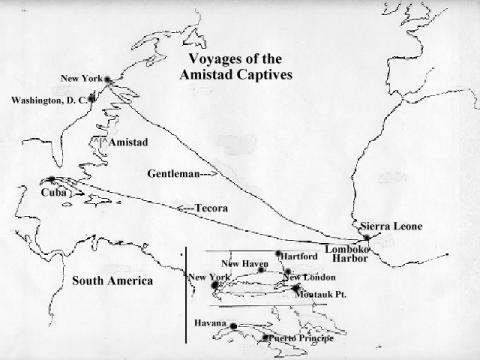 Amistad Voyages - Routes of Travel for Amistad Captives American History African American History Civil Rights Film Slaves and Slave Owners Geography