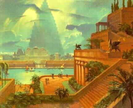 Hanging Gardens of Babylon (Illustration) Ancient Places and/or Civilizations Visual Arts World History Legends and Legendary People