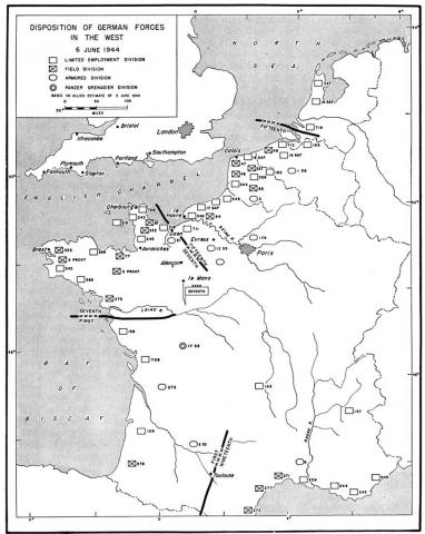 Disposition of German Forces in the West - June 6, 1944 Famous Historical Events Geography World War II Visual Arts