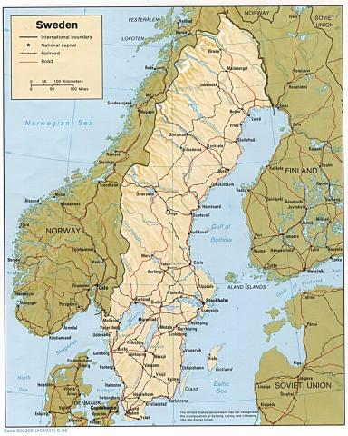 Map of Sweden Geography Social Studies
