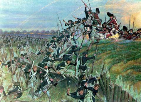 Patriots Storm the Redcoats at Yorktown-Decisive Battle