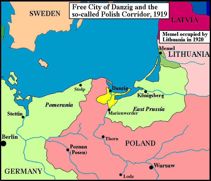 Map of Northern Europe and Free City of Danzig