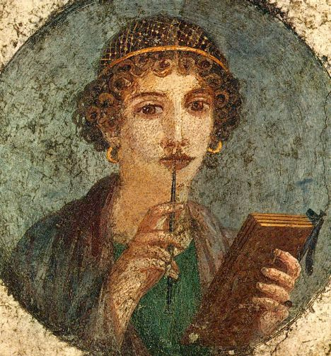 girl with stylus and tablets sappho from pompeii