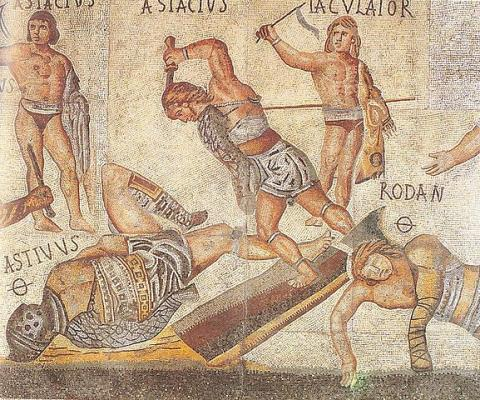 GLADIATORS (Illustration) Biographies Geography Film World History Fiction Legends and Legendary People Ancient Places and/or Civilizations