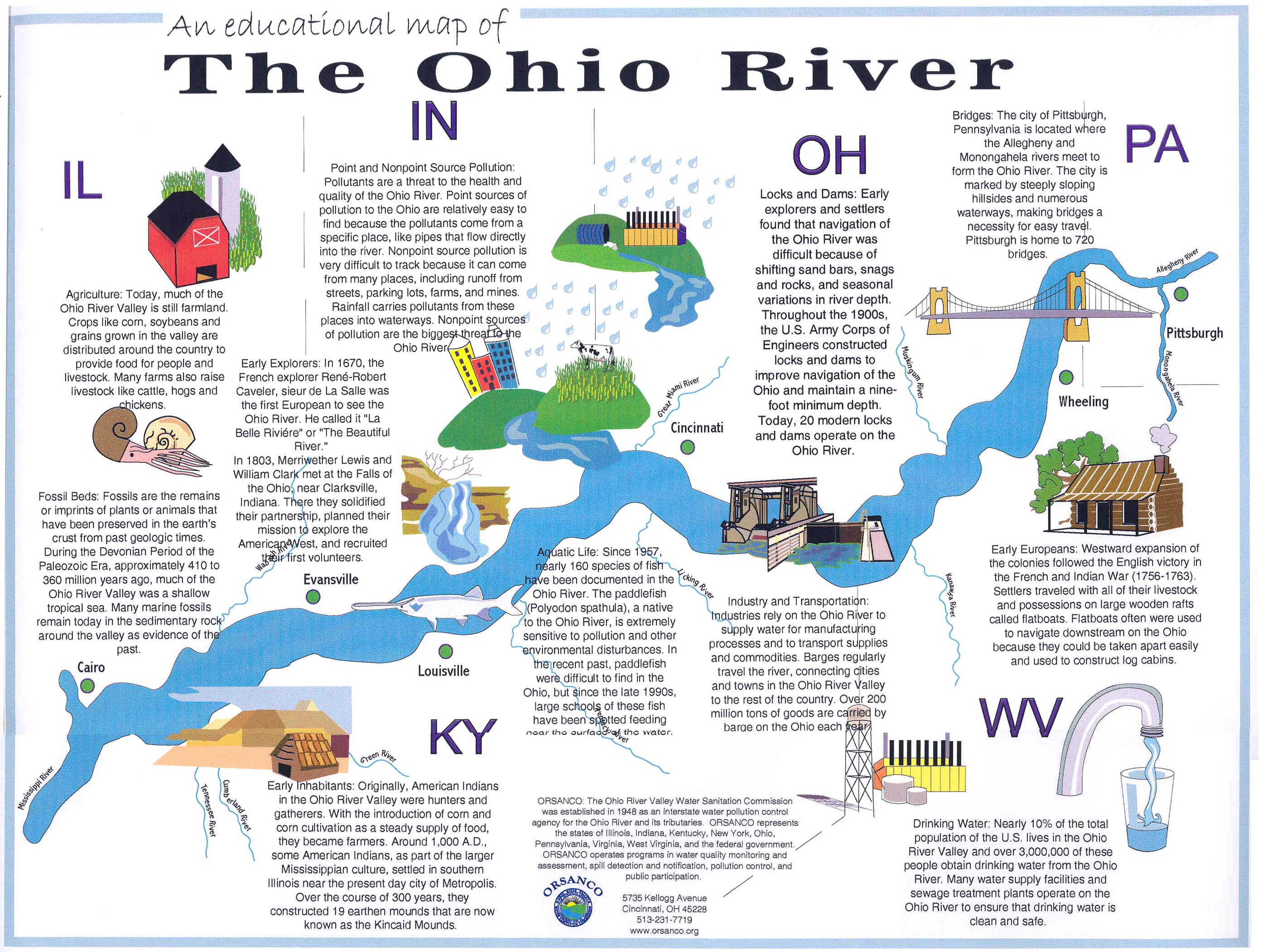 The Ohio River - Ohio river map