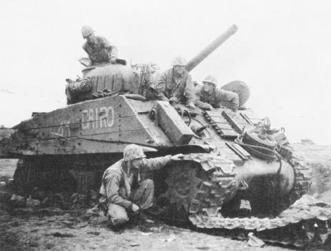 Tanks in Iwo Jima were Disabled by Japanese-planted Mine Fields