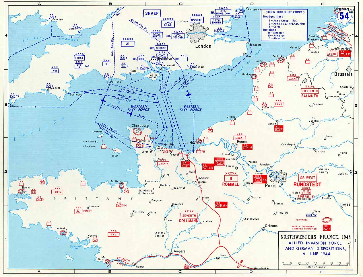 Allied Invasion Force and German Dispositions Map