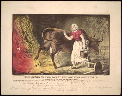Catherine O'Leary (Illustration) American History Disasters Famous Historical Events Social Studies Tragedies and Triumphs Nineteenth Century Life