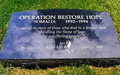 Commemorative Marker:  Operation Restore Hope American History Social Studies Disasters
