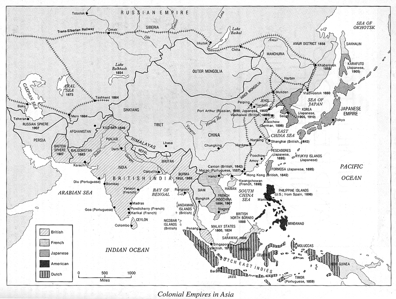 Of Colonial Empires In Asia - Map of us colonialism