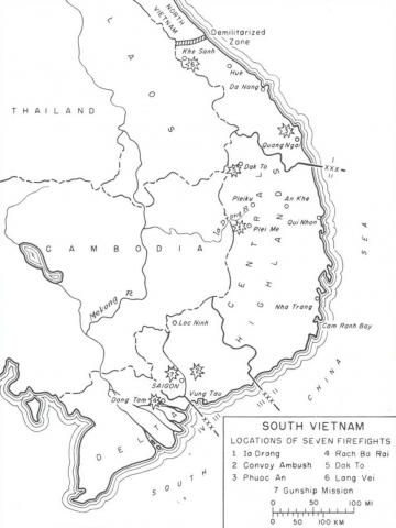 Vietnam - Map of Ia Drang and Other Firefight Areas American History Geography Disasters