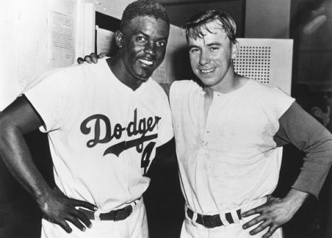 Jackie Robinson and Pee Wee Reese (Illustration) Famous People Civil Rights African American History Sports American History Ethics