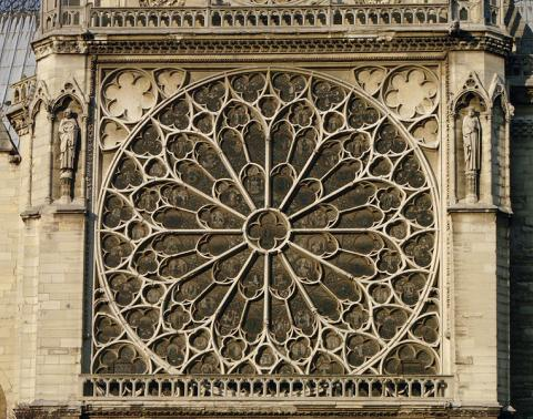 Notre Dame, Paris - Rose Window, South Transept - Exterior Medieval Times Philosophy Visual Arts Geography