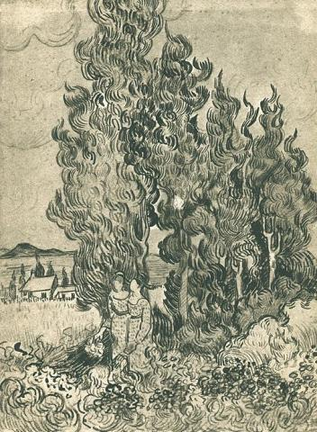 Drawing - Cypresses with Two Women in Foreground Famous People Social Studies Visual Arts Nineteenth Century Life Tragedies and Triumphs
