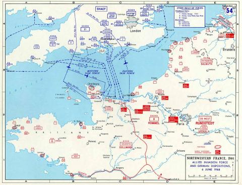 Allied Invasion Force and German Dispositions - Map Famous Historical Events Visual Arts World History World War II Geography