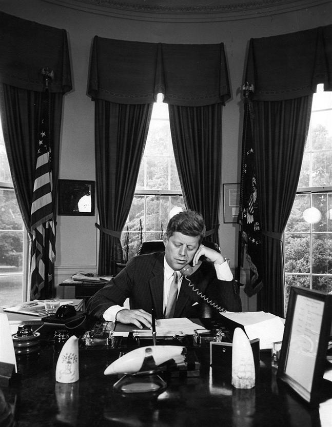 president kennedy at work in the oval office