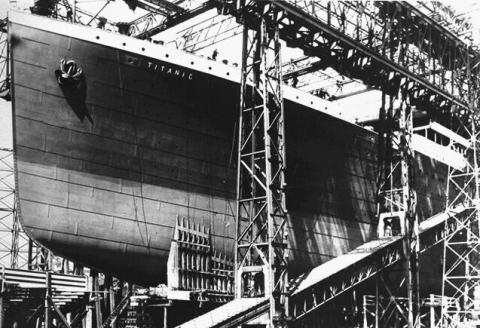 Photograph of the RMS Titanic as it was ready to launch