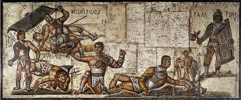 Mural ancient mosaic of roman games for Ancient roman mural