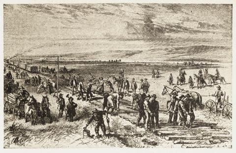 TRANSCONTINENTAL RAILROAD (Illustration) Famous Historical Events Social Studies Geography Nineteenth Century Life Native-Americans and First Peoples  American History