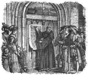 Martin Luther nailing the 95 Arguments to the church door